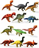 HAPTIME Dozen Small Assorted Dinosaur Figures, Mini Plastic Dino Model Toys 2-inch for Kids and Toddlers (Pack of 12)
