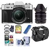 Fujifilm X-T30 Mirrorless Camera with XF 18-55mm f/2.8-4 R LM OIS Lens, Silver - Bundle with Camera Case, 32GB U3 SDHC Card,