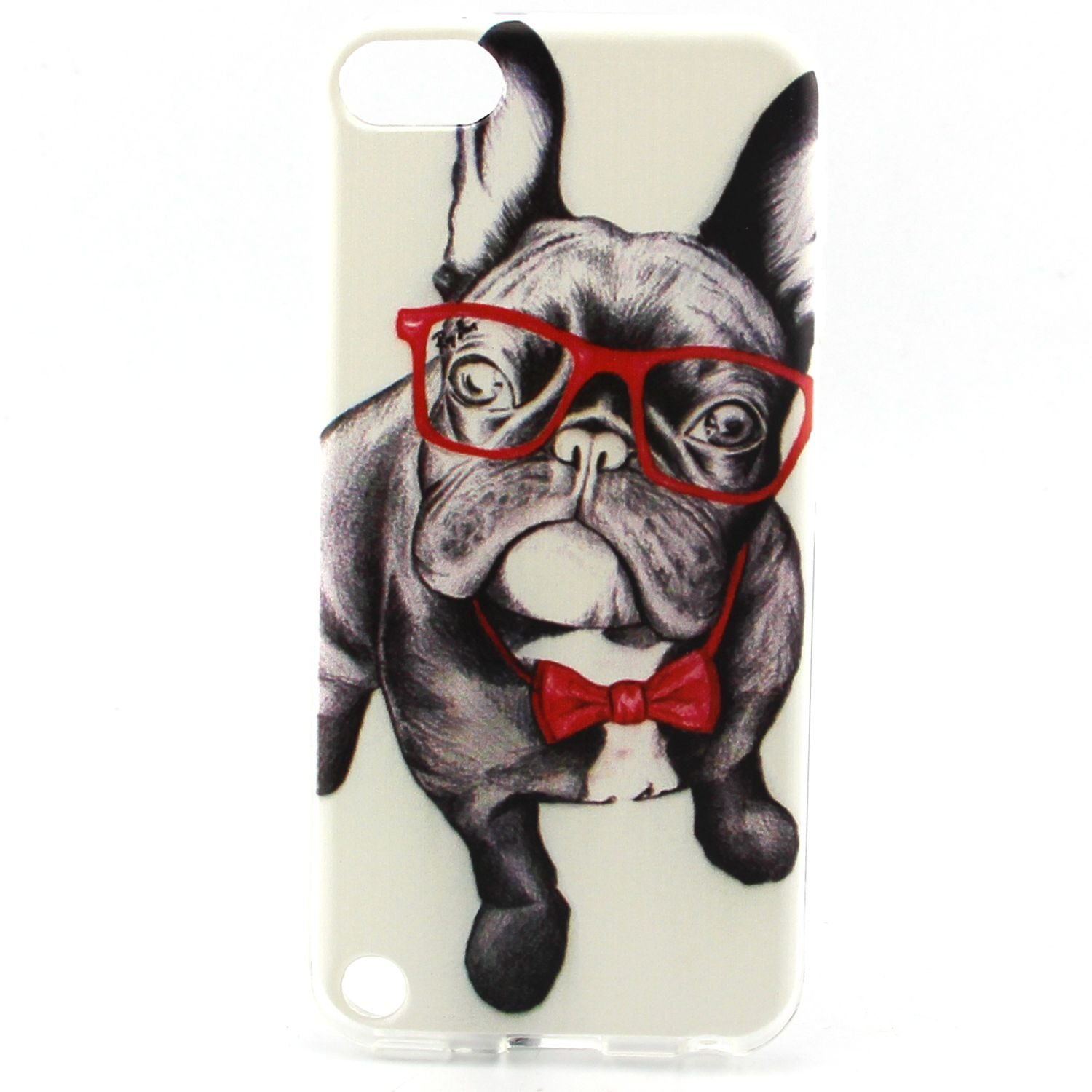 iPod Touch 5 Gen Case, iPod Touch 6 Case, Easytop Premium Exact Fit Fashion Style Flexible Ultra Slim Soft TPU Rubber Back Cover Protective Skin Case (Dog with Red Glasses)