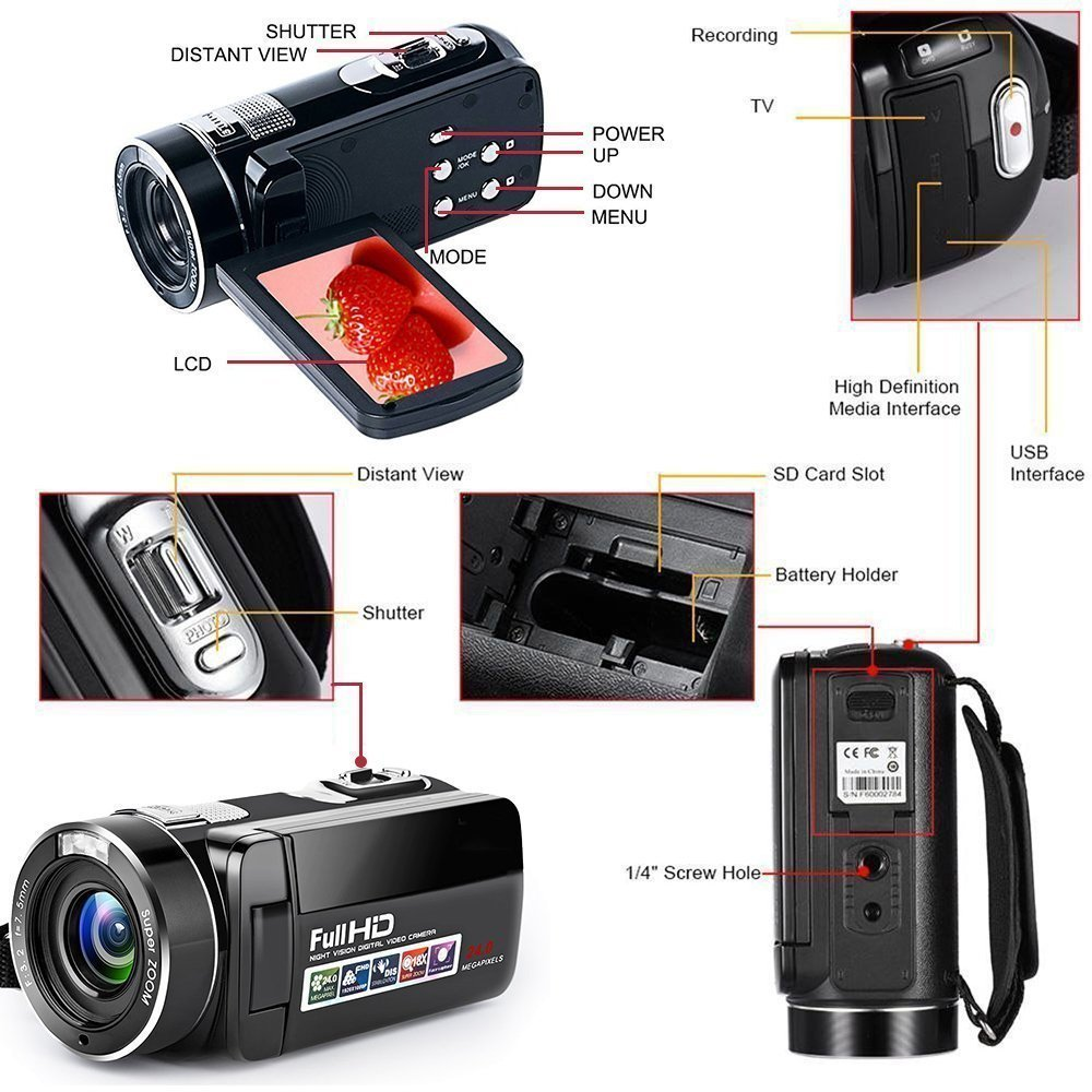 Video Camera Camcorder With Ir Night Vision Weiliante Opinions On Digital Electronics 18x Zoom 240mega Pixels Full Hd Recorder Two Batteries Included