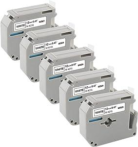 PT-65 Label Tape M Tape M231 M-K231 Compatible with Brother P Touch Label Maker PT-M95 PT-70 PT-90 PT-70BM PT-65 PT-85 PT-70SR Black on White 0.47inch x 26.2feet(12mm x 8m) 5-Pack