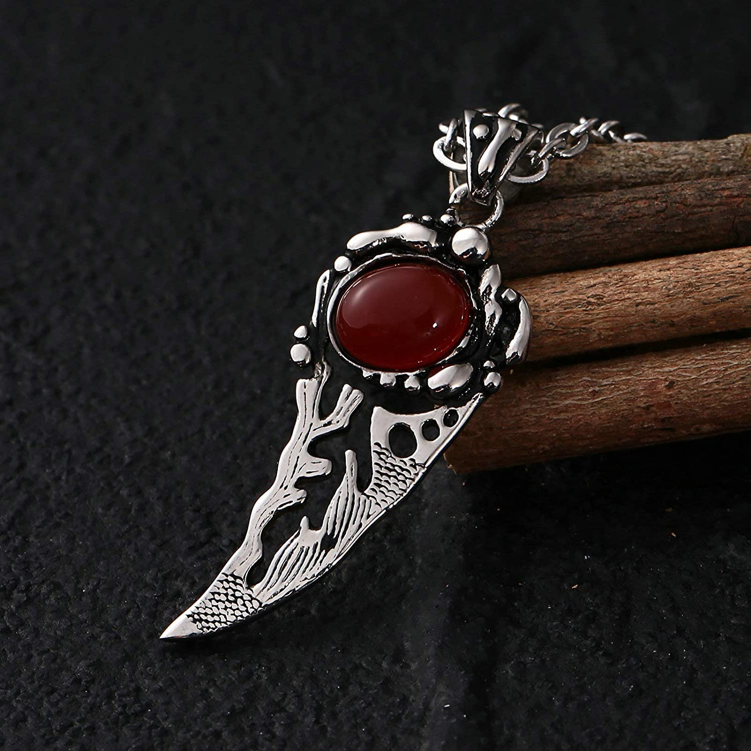 Bishilin Pendant for Men Stainless Steel Crescent with Rhinestone Red Pendant Necklace Men Hip Hop