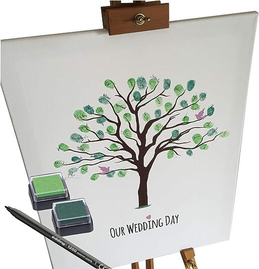 KATINGA Lienzo para la boda como libro de visitas para huellas dactilares para etiquetado autom/ático 30 x 40 cm /árbol de motivos BLANKO