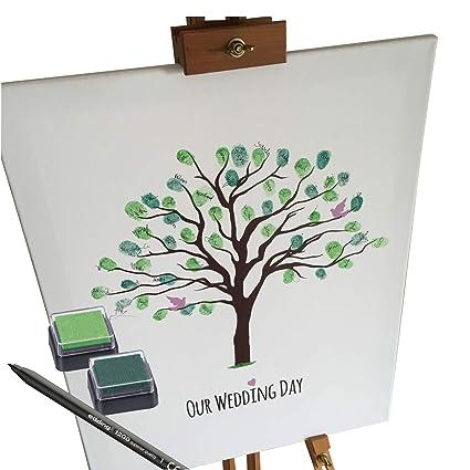 KATINGA Lienzo Bodas – Diseño Algodón – como Libro de visitas para Huellas Dactilares, 40x50
