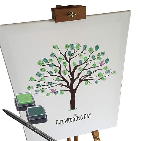 Katinga Leinwand Zur Hochzeit Motiv Baum Als Gästebuch Für