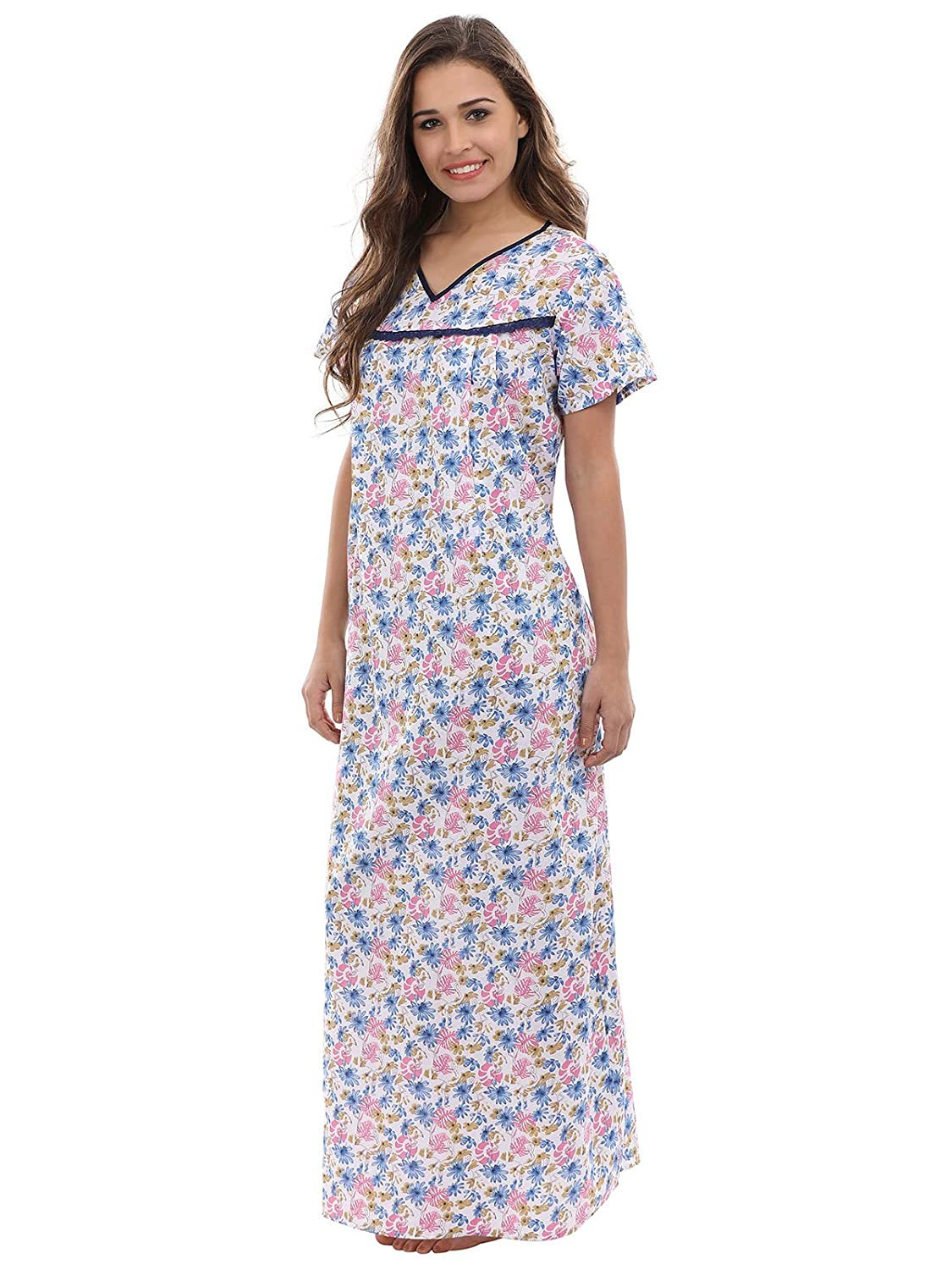 aa319a21bb86d Clovia Women's Cotton Floral Print Maternity Nighty: Amazon.in: Clothing &  Accessories