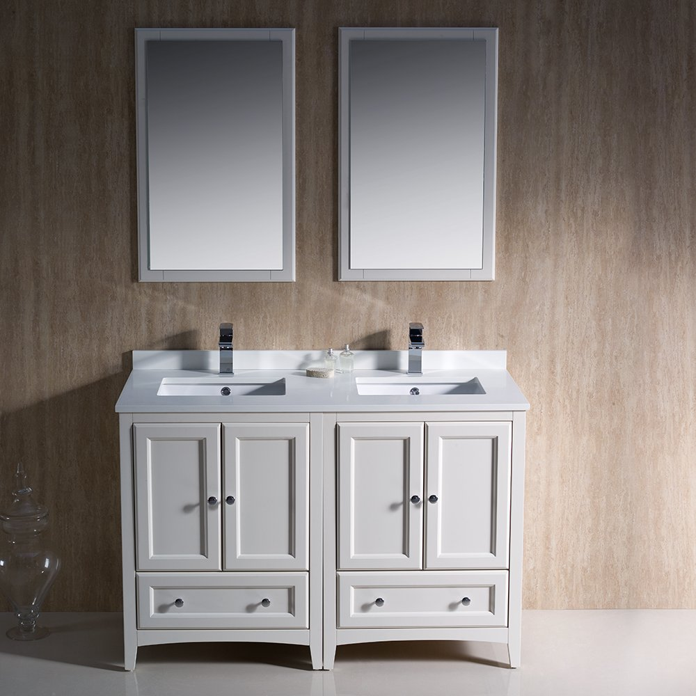 Fresca Bath FVN20 2424AW Oxford Double Vanity Sink  48 Antique White Amazon Com