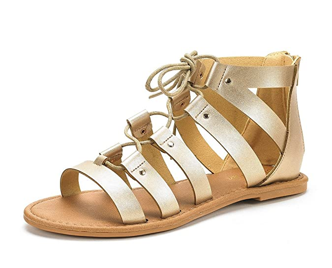 DREAM PAIRS Women's Arizona Gold Pu Ankle Strap Gladiator Flat Sandals Size 5 M US