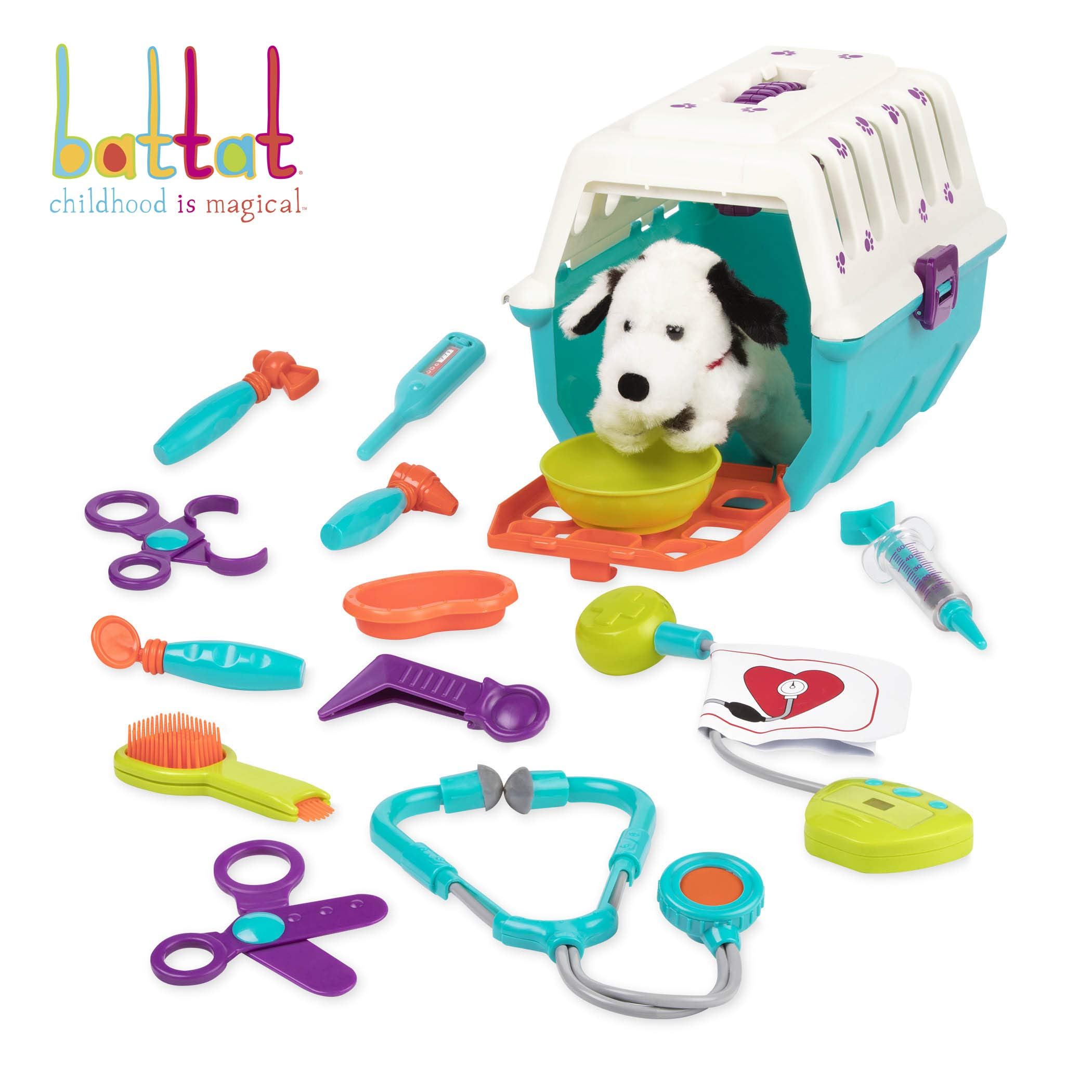 Battat - Dalmatian Vet Kit - Interactive Vet Clinic and Cage Pretend Play for Kids (15 pieces) by Battat
