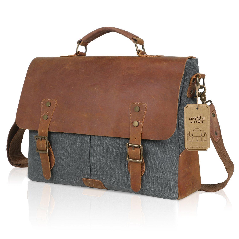 Lifewit 15.6 Inch Leather Satchel Messenger Laptop Shoulder Bag Canvas  Briefcase, 41cm(L)x28cm(H) x 10cm(W) (15.6  , Grey) ee25d38c03