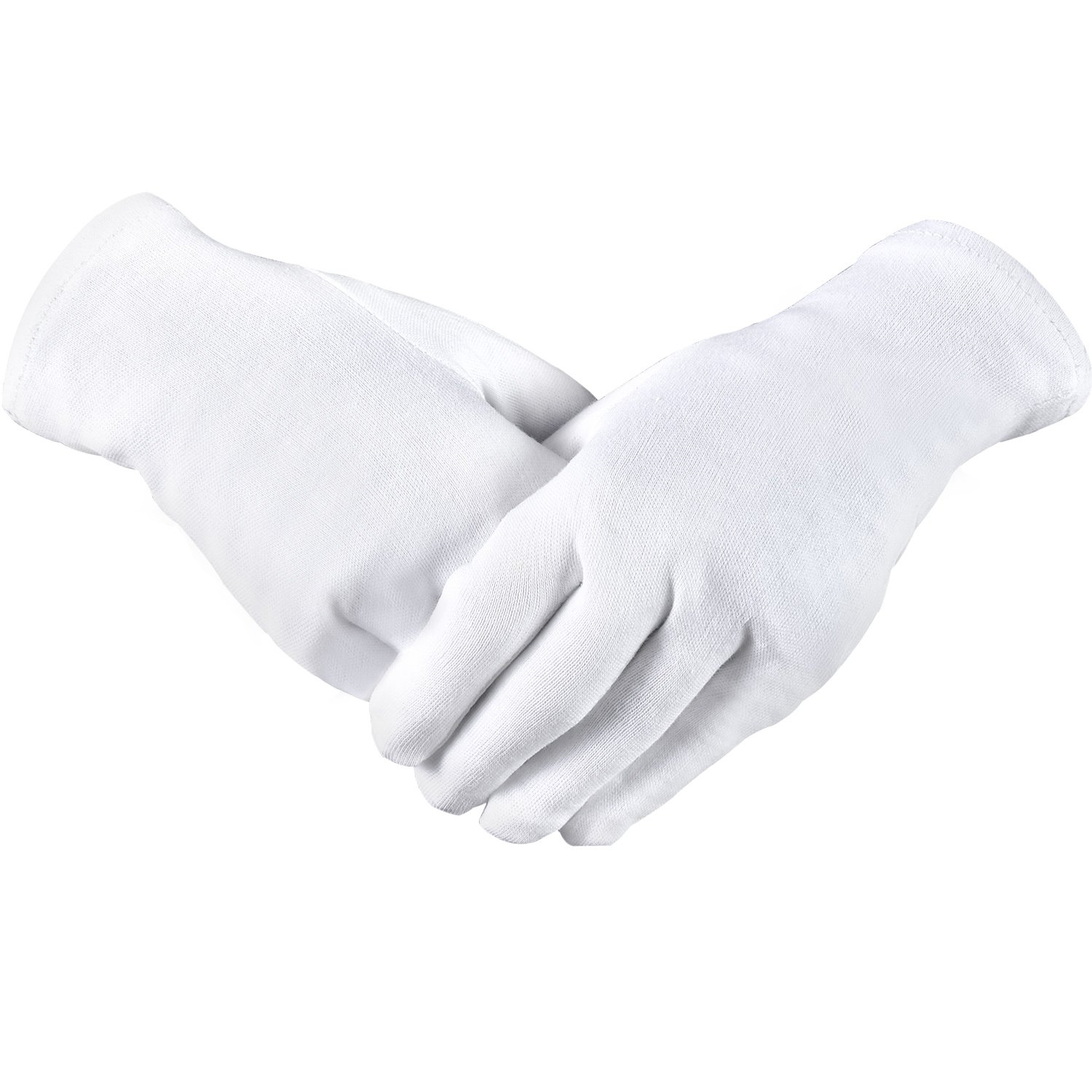Hicarer 3 Pairs White Cotton Gloves Cosmetic Gloves for Dry Hand Moisturizing Jewelry Inspection Spa (L Size)