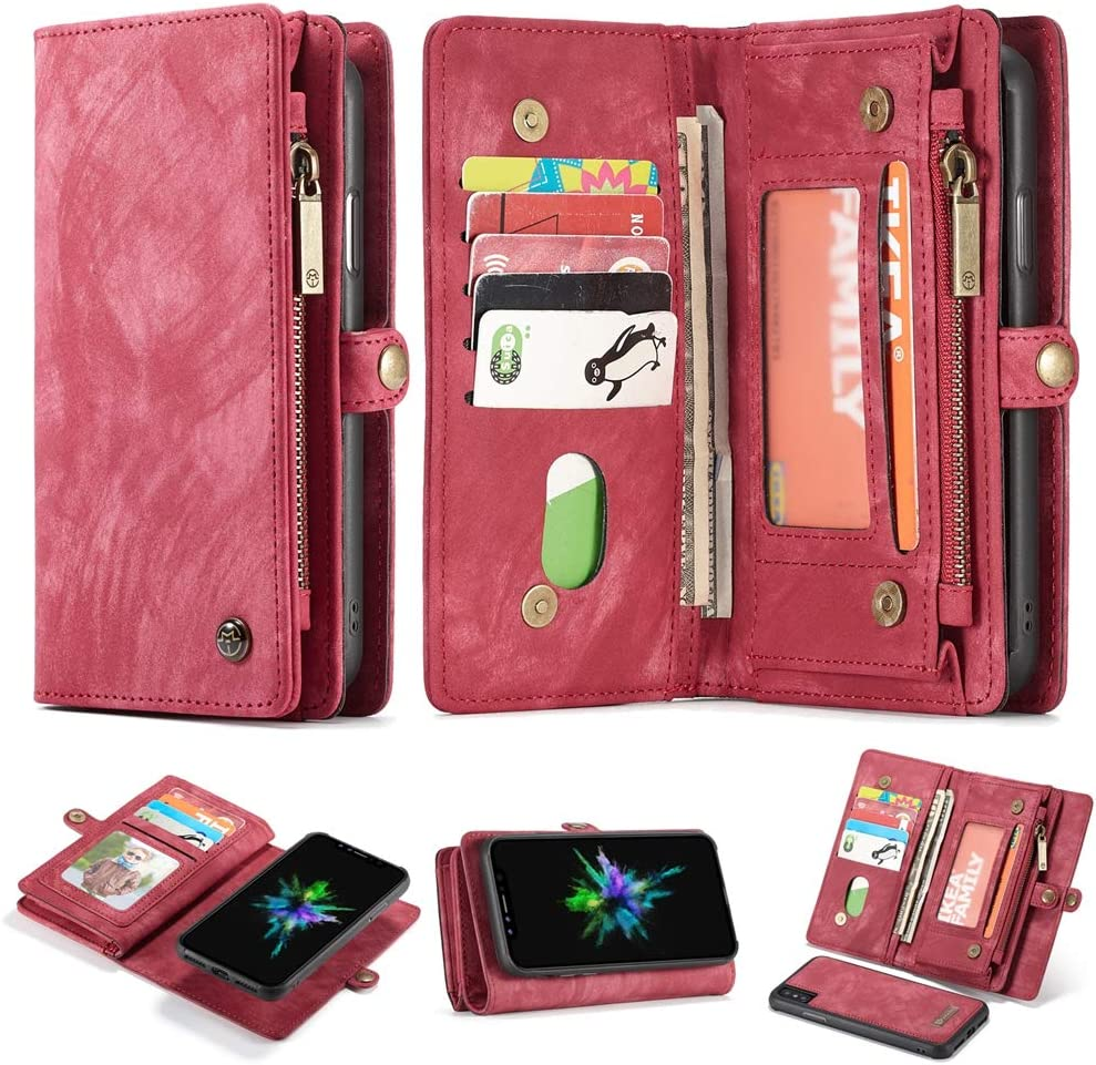 iPhone 8/iPhone 7 Magnetic Detachable Wallet Case,Jeefhe Leather Purse for Women Men with Kickstand Removable Slim Back Cover Card Holder Slots for iPhone8/7 4.7 (008-Red, iPhone 8)
