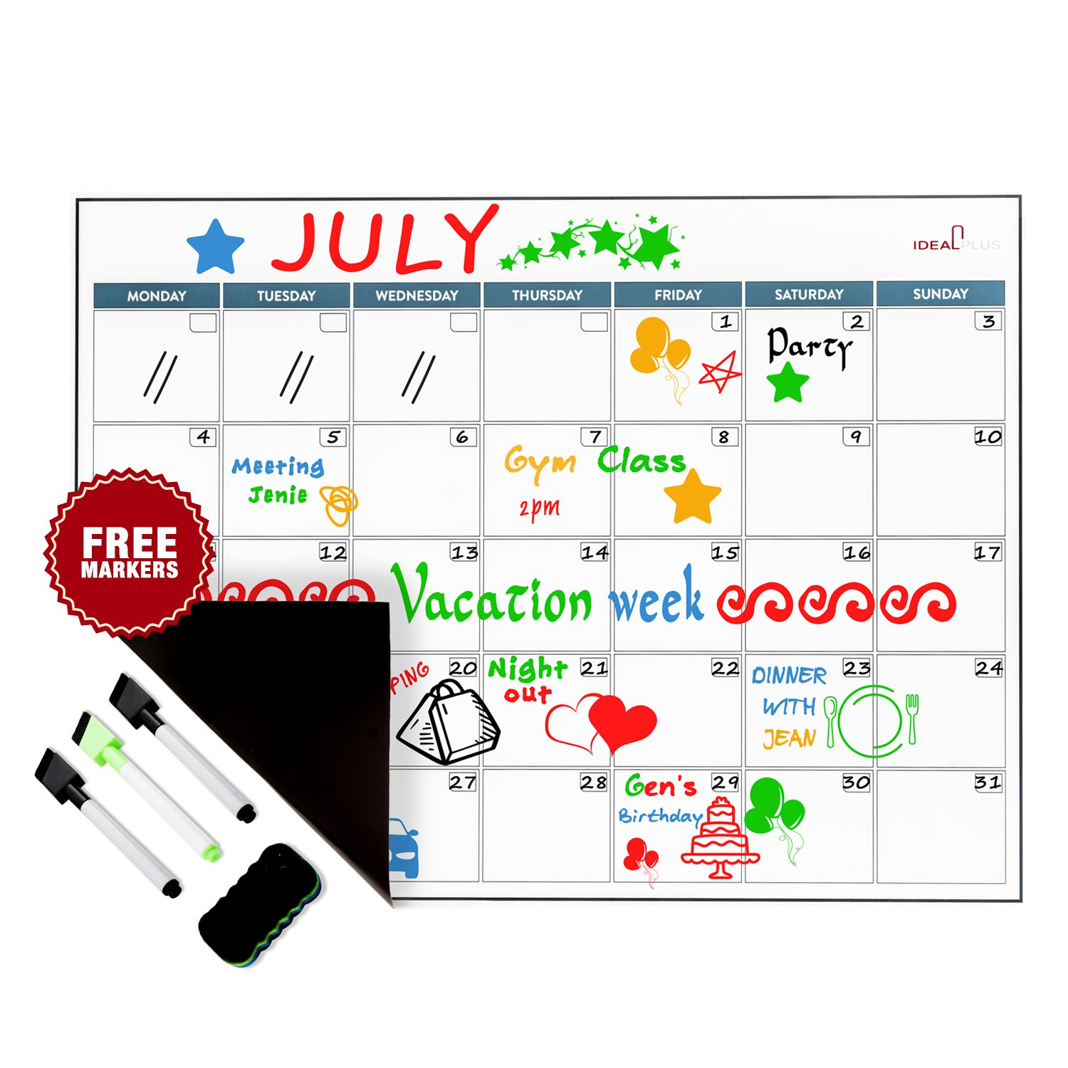 Magnetic Dry Erase Calendar Set by Ideal Plus | Monthly White Board 2019 Meal Planner for Refrigerator | Back To School Organizer | New Stain Resistant PET Coating | Thickest and Strongest in the Market Idealplus