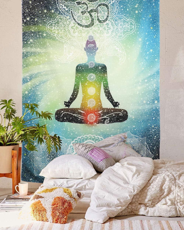 "Shukqueen Indian Tapestry Yoga Decor, Mandala Zen Wall Meditation Batik Hippie Om Sign Chakra Tapestry Indian Hanging Dorm Bedroom Living Room Decorations (57"" H x 78"" W,Dhyana)"