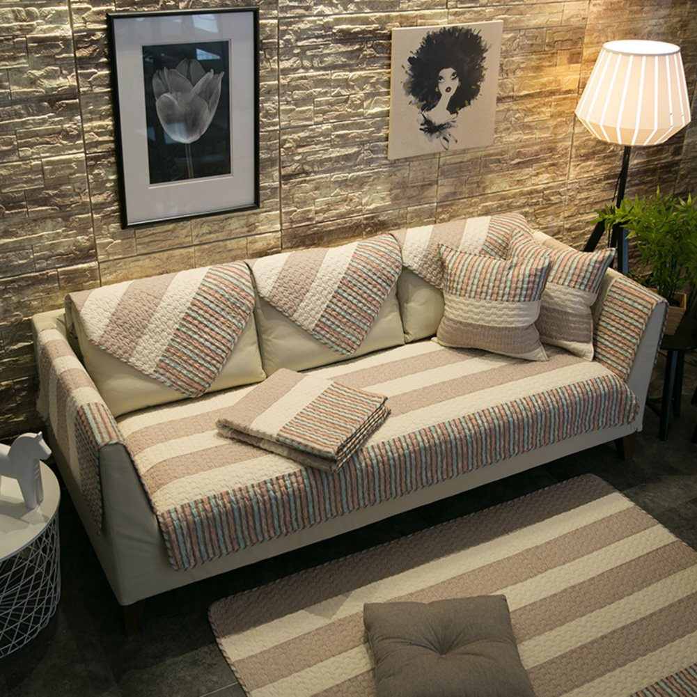Anti-slip sofa slipcovers Stain-resistant sofa slipcover Cotton sofa cover protector Sofa towel covers American style-D 70x210cm(28x83inch)