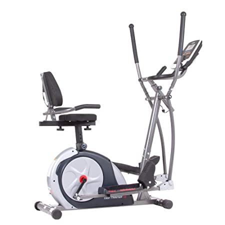 Body Champ New Trio Trainer All in One Elliptical, Upright Stationary, and Recumbent Exercise Bike Plus Seated and Sprint Road Bike Cycling BRT7989