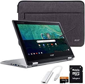 "Acer Chromebook Spin 11 2-in-1 Convertible Touchscreen Laptop 11.6"" HD IPS, Intel Celeron N3350, 4GB DDR4 RAM, 32GB eMMC w/ Mytirx 128GB SD Card, WiFi, Pen, USB-C to HDMI Adapater, Sleeve"