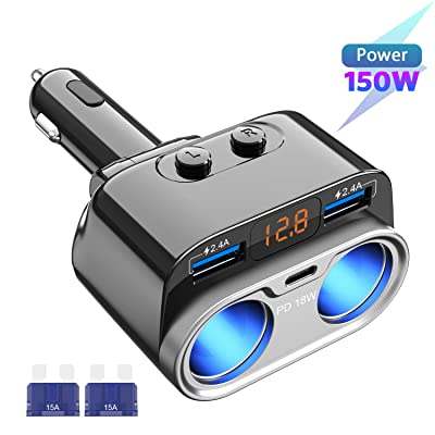 USB C Car Charger, Uniwood 2 Sockets Cigarette Lighter Splitter, 12/24V 150W Dual USB Type-C Ports Separate Switch LED Voltage for Mobile Cell Phone GPS Dash Cam: Home Audio & Theater