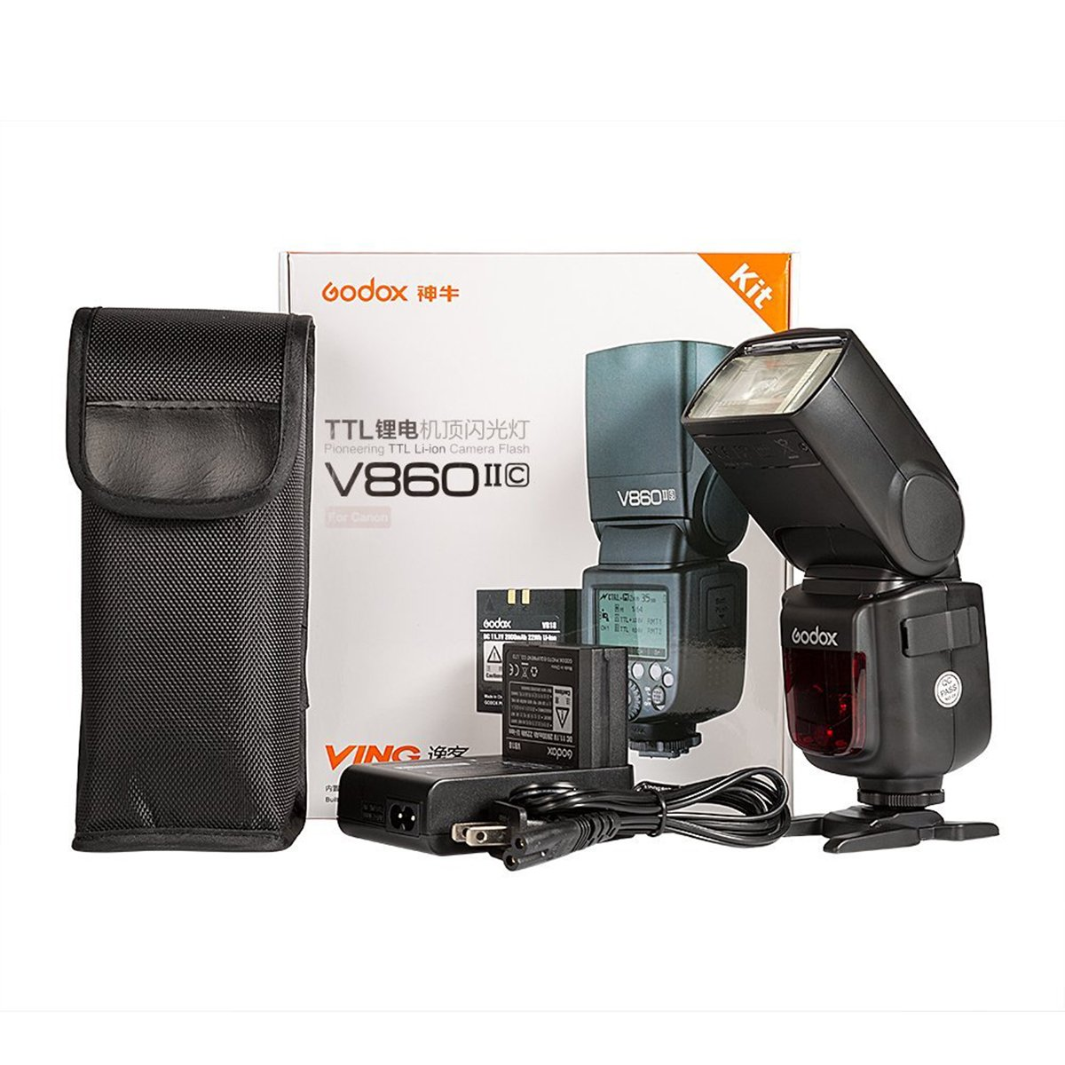 Godox V860II-C 2.4G GN60 TTL HSS 1/8000s High Power Lithium Battery Slave/Master Speedlite for Canon 6D 7D 50D 60D 1DX 600D 600EX-RT 580EX II 5D Mark II III