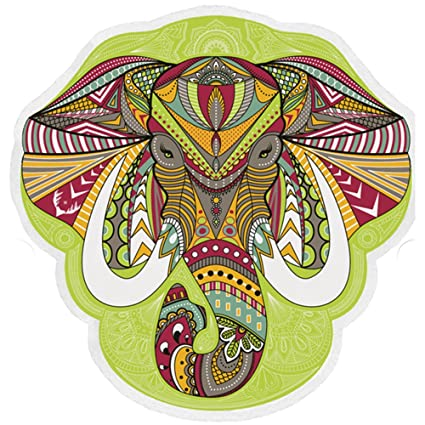 Ehonestbuy India Elefante Beach Throw Polyester Beach Round Towel for Travel, Yoga, Sports, Gym, Camping, Pool, Swimming, 59inch