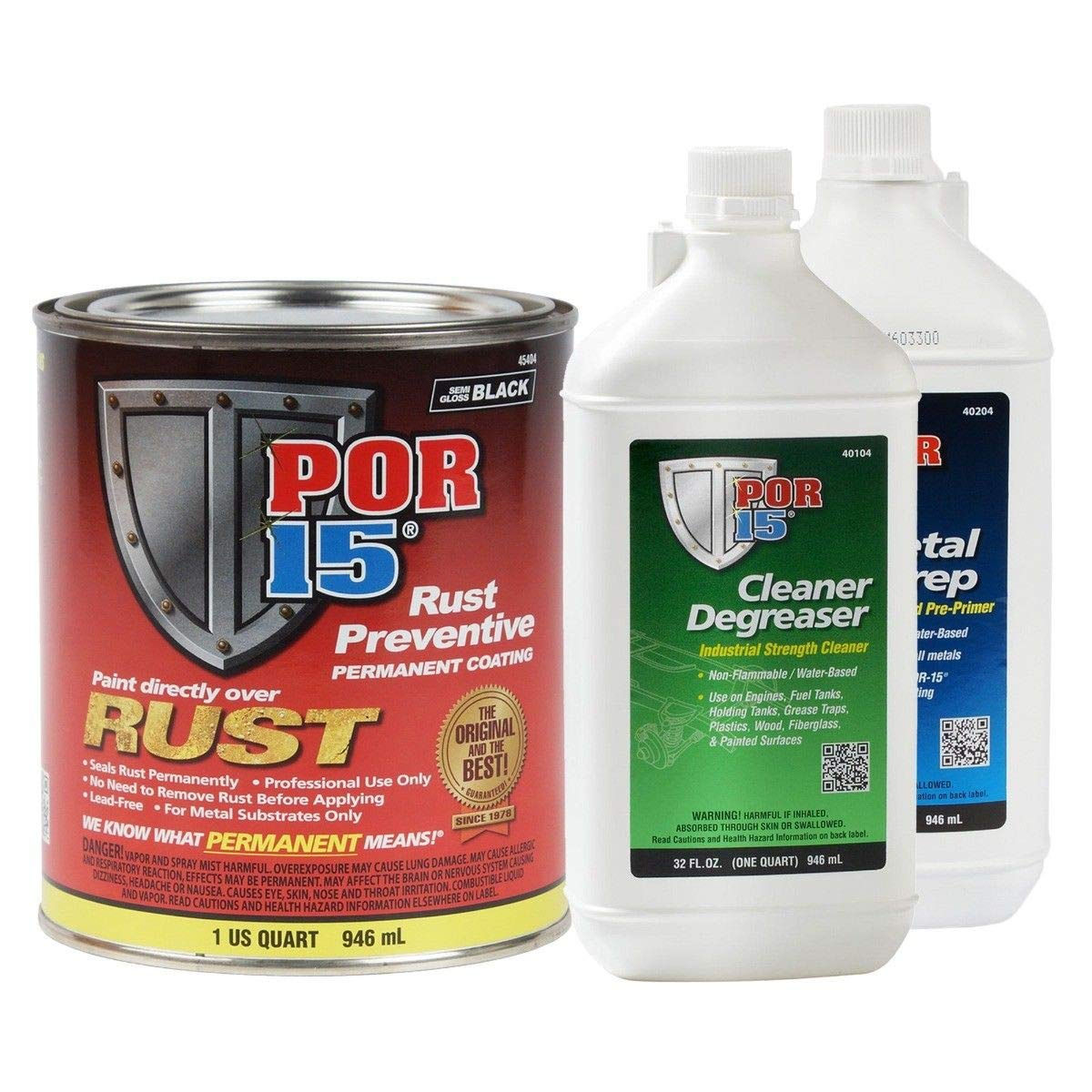 POR-15 45404 Rust Preventative Paint Semi-Gloss Black Kit Metal Prep Degreaser Quart Kit