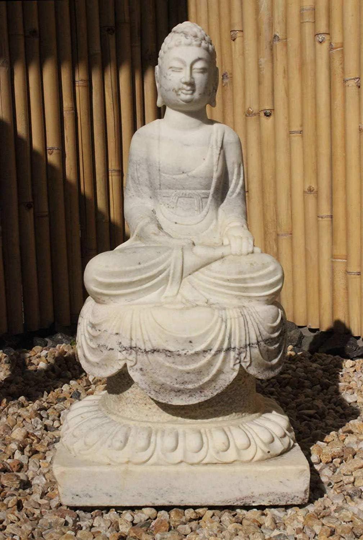 Asien lifestyle Siddharta Buda Estatua Mármol Piedra (87cm) Jardín Budismo Figura