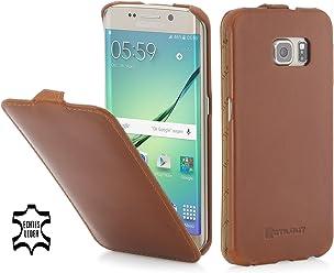 StilGut UltraSlim Case, Custodia in Pelle per Samsung Galaxy S6 Edge, Cognac