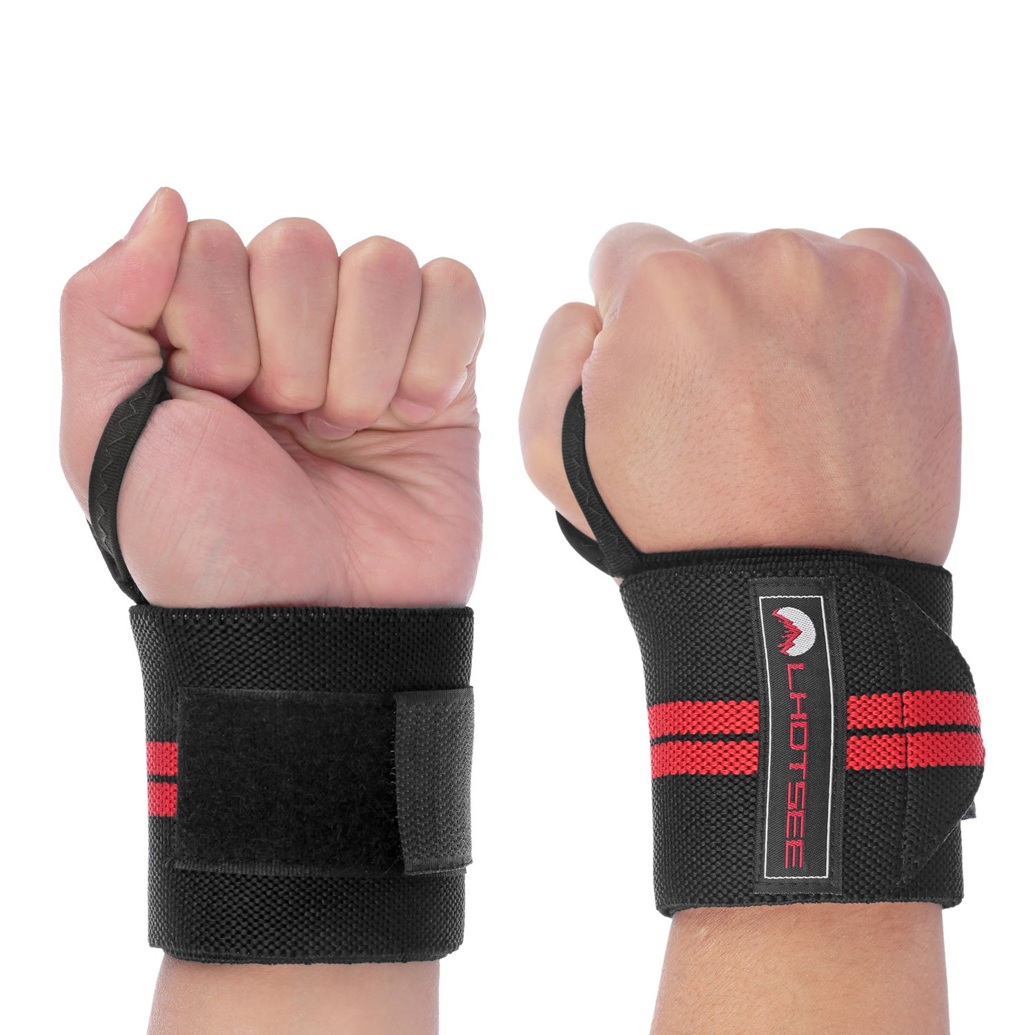 LHOTSEE Premium Wrist Straps,Professional Weight Lifting Training Wrist Straps Support Braces Wraps For Men and Women (Red) by LHOTSEE (Image #1)