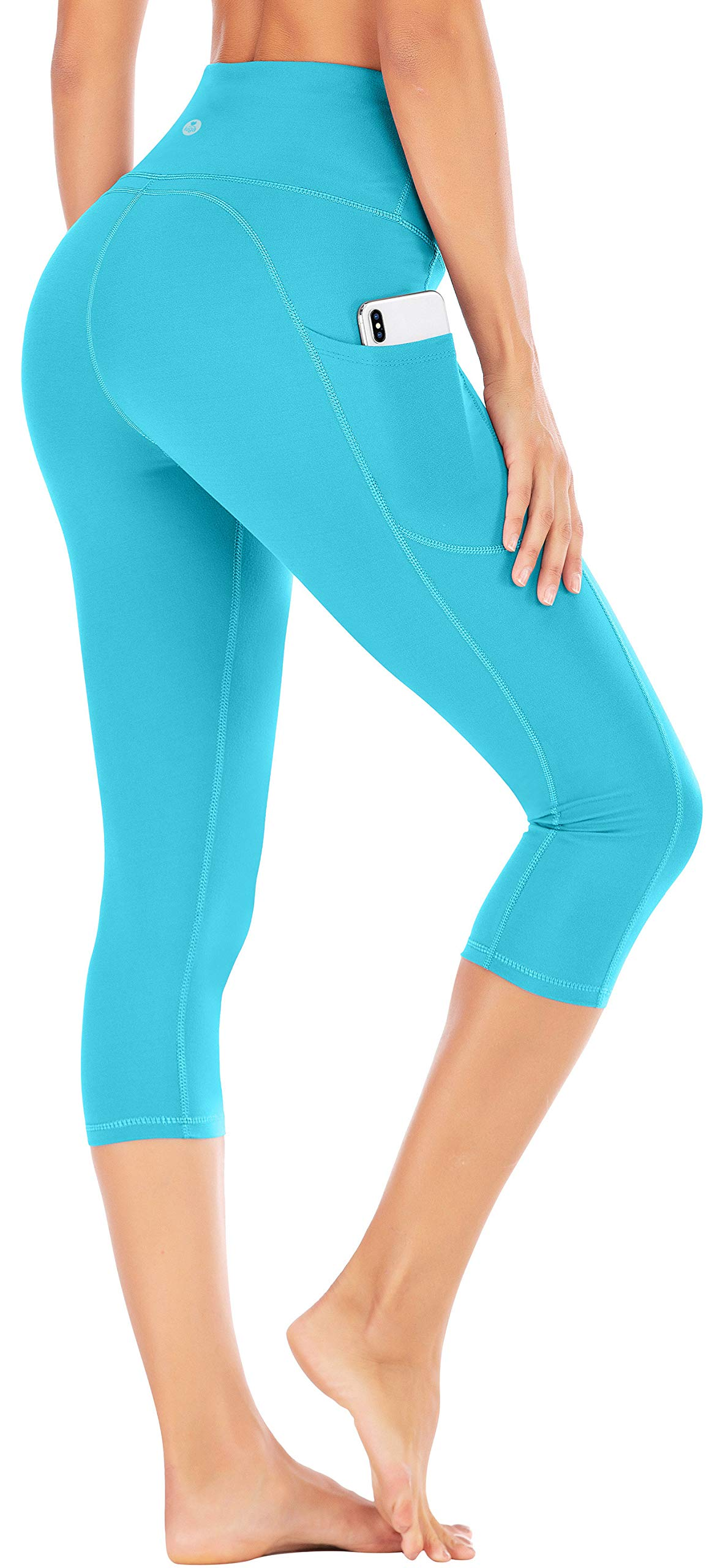 IUGA High Waist Yoga Pants with Pockets, Tummy Control Yoga Capris for Women, 4 Way Stretch Capri Leggings with Pockets(Light Blue, XL) by IUGA
