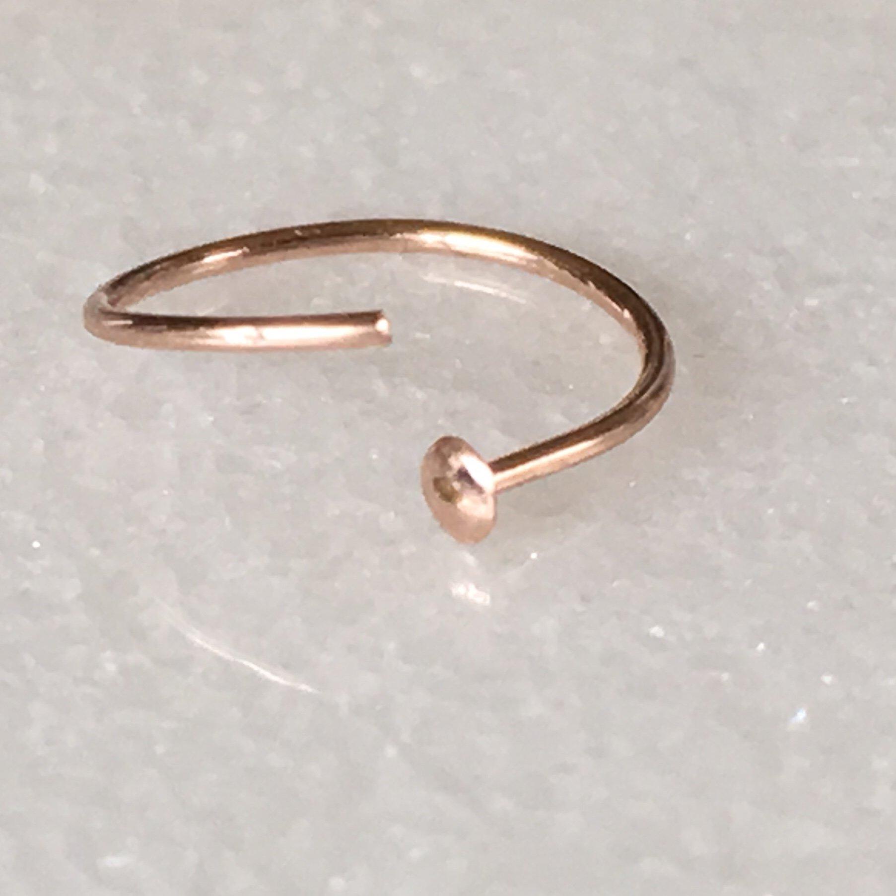 Rose Gold Hoop Nose Ring - 24g 6-7MM Inner Diameter Slightly Adjustable by EllieJMaui