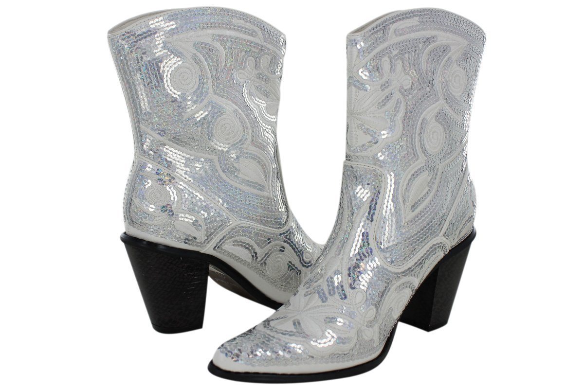Helens Heart Women's Sparkle Sequin Bling Short Western Cowgirl Boots B00B04P154 6 B(M) US White
