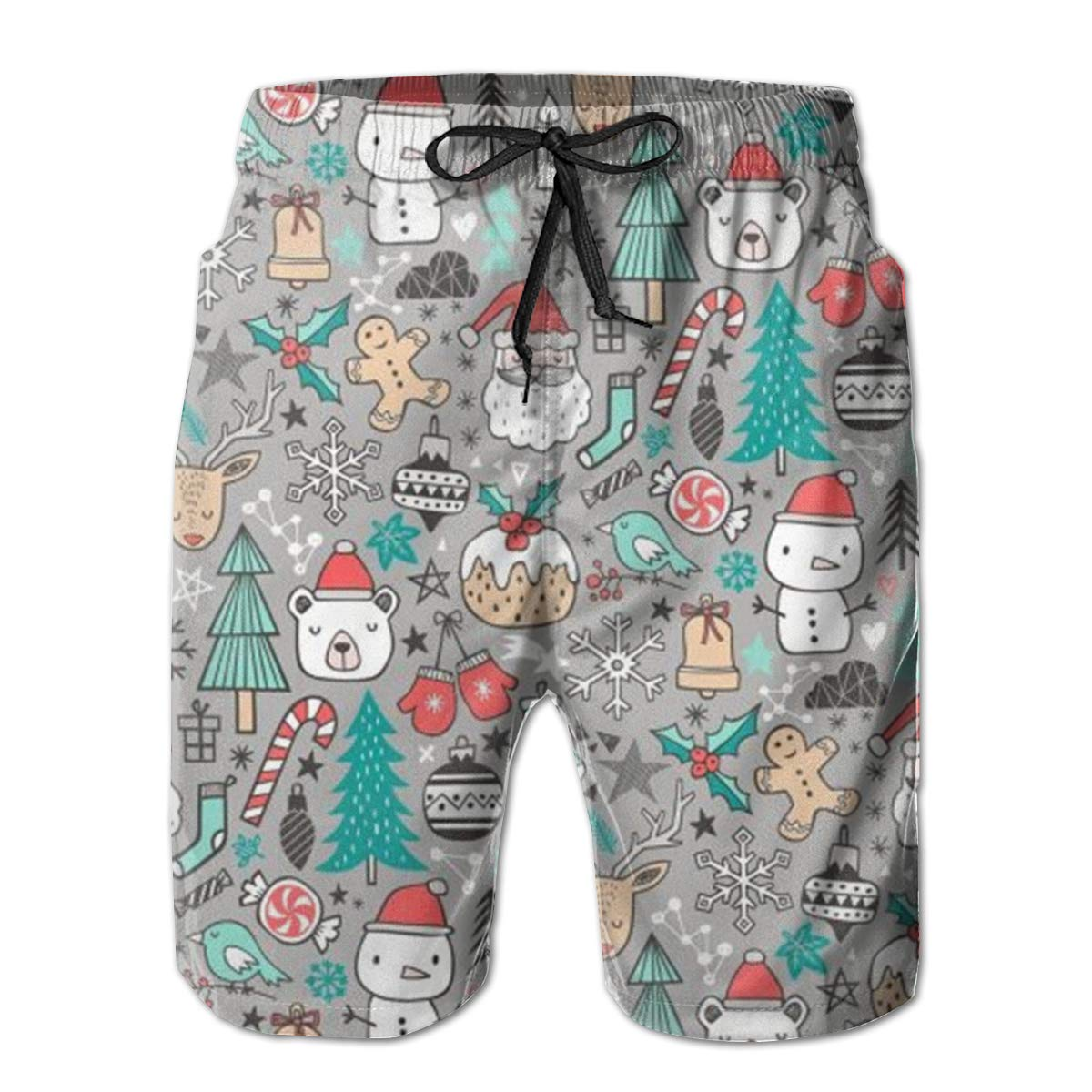 TR2YU7YT Xmas Christmas Winter Holiday Casual Mens Swim Trunks Quick Dry Printed Beach Shorts Summer Boardshorts Bathing Suits with Mesh Lining