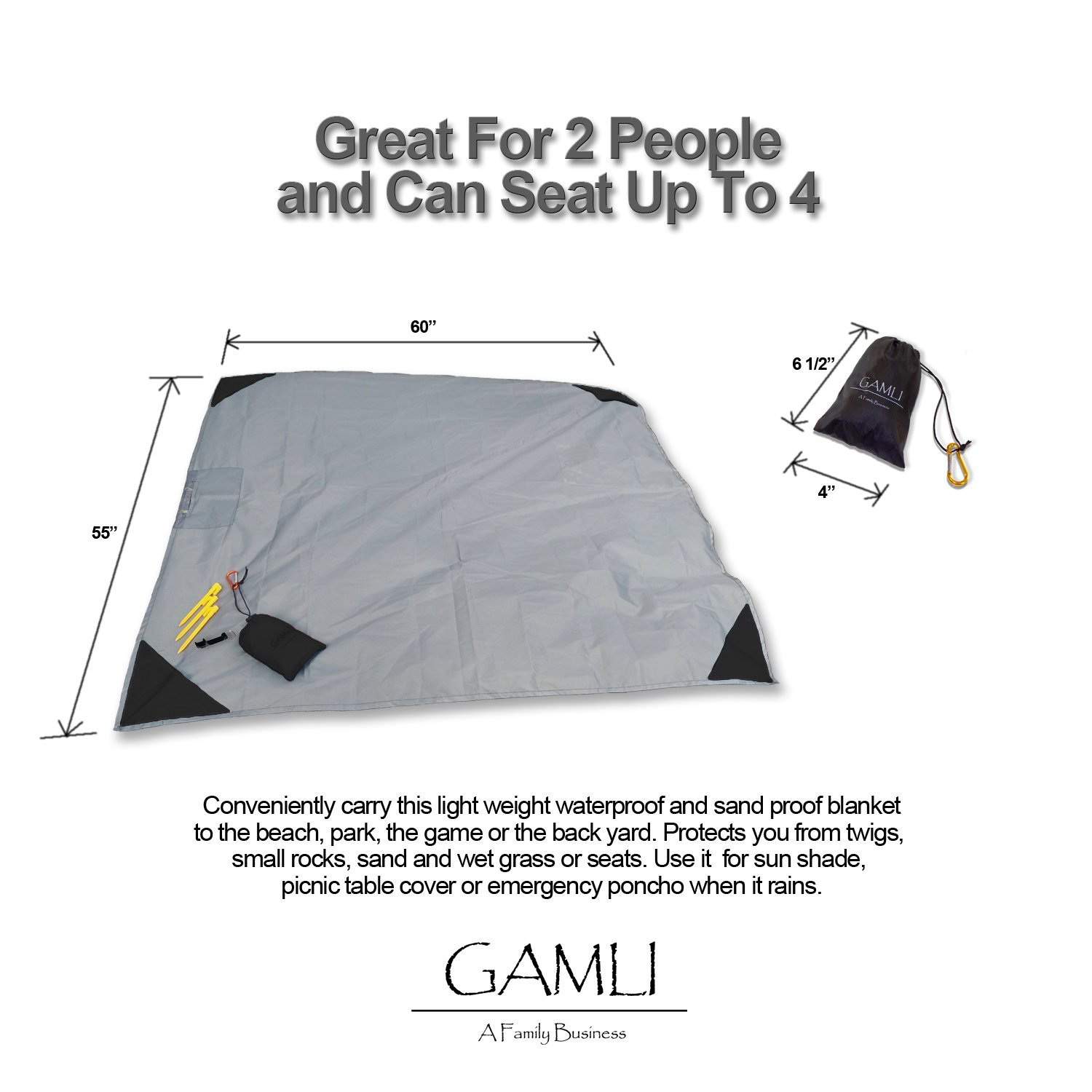 GAMLI A Family Business Black Secure Pocket with Zipper Secure Pocket with Zipper Loops Camping Hiking Compact Size 55x60 Fit 4 People 4 Stakes Pocket Blanket for Beach Festival Sand and Waterproof Puncture Resistance with Corner Pocket