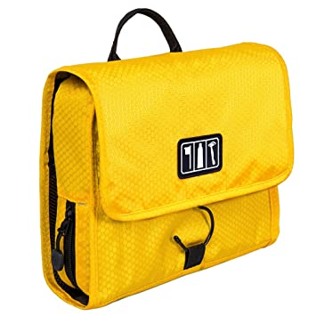 ea361803e96a Amazon.com   BAGSMART Hanging Travel Toiletry Bag Cosmetic Carryon Case  Folding Makeup Organizer with Breathable Mesh Pockets Yellow   Beauty