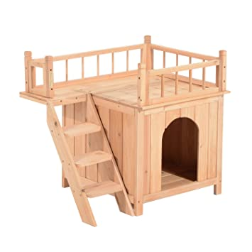 Pawhut 2 Story Indoor/Outdoor Wood Cat House Shelter