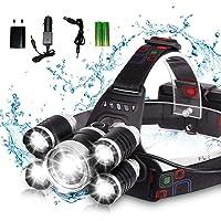 DELEE Waterproof 12000 Lumen 5 Led Headlamp XML T6+4Q5 Head Lamp Powerful Led Headlight, Rechargeable Flashlight Head…
