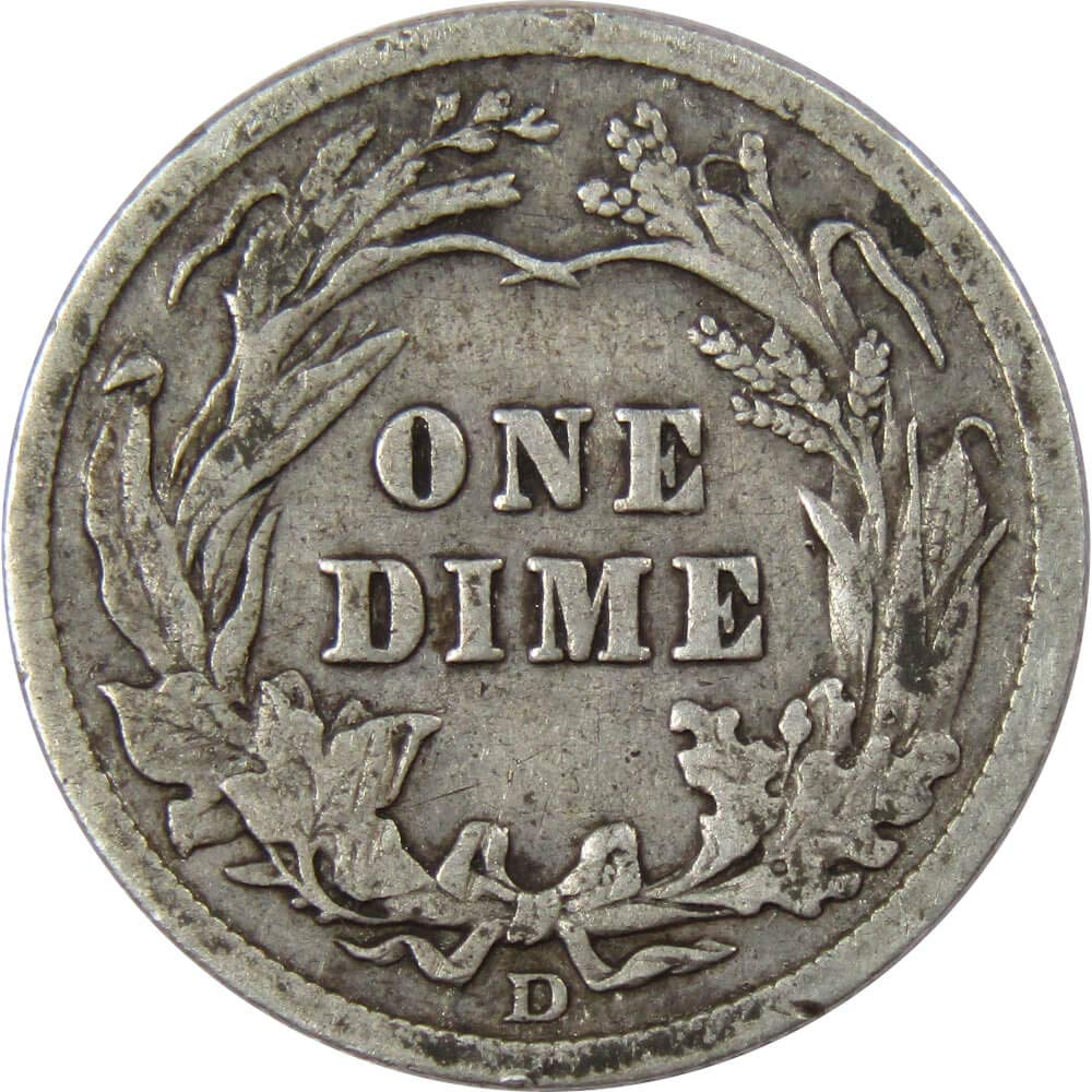 1914 D 10c Barber Silver Dime US Coin VG Very Good