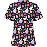 Nurse Tops for Women, Womens Short Sleeve Floral Print V-Neck Tops with Pockets Soft Working Uniform Workwear Tops