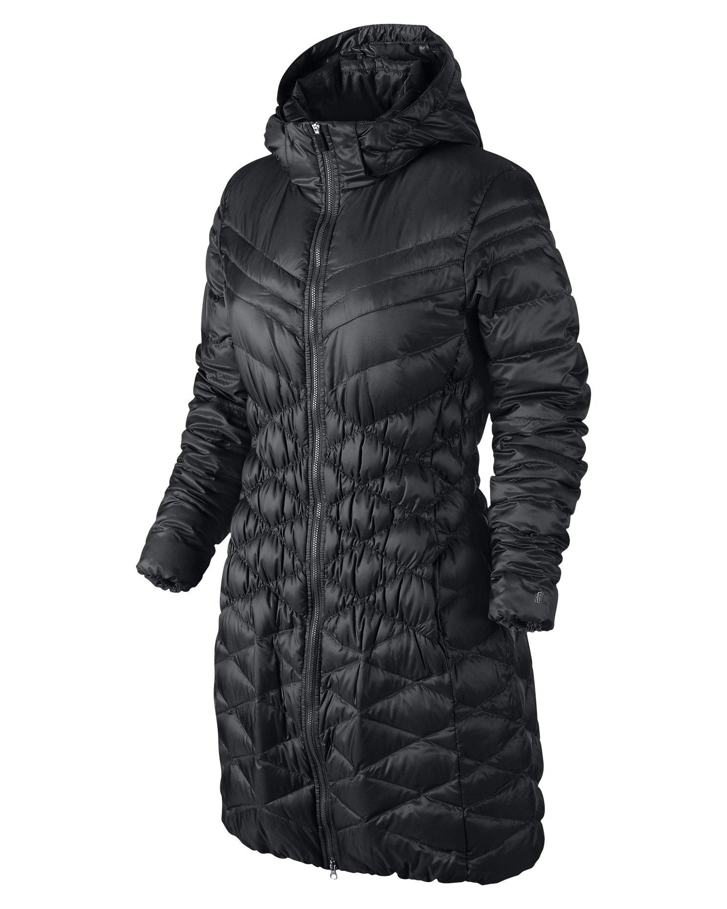 Nike Cascade Hooded Down Parka Womens Coat, Black, Small