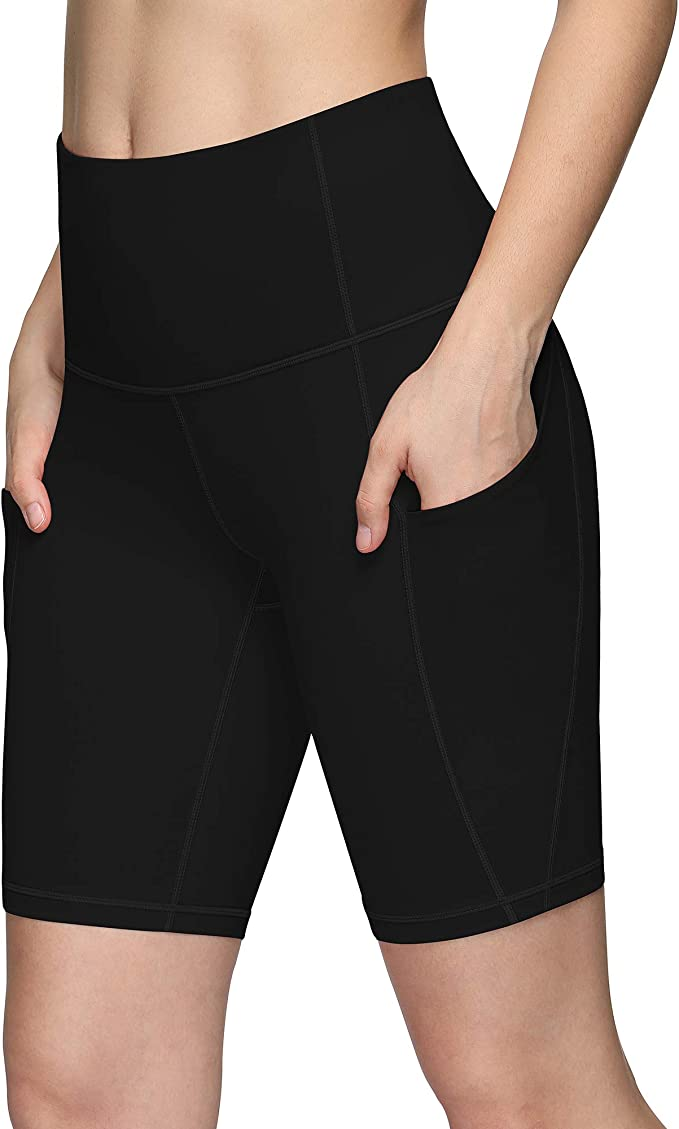 PHISOCKAT Women's Biker Shorts with Pockets, Tummy Control Workout Running Yoga Shorts