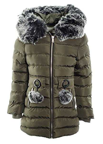 Girl's Faux Fur Hooded Fleece Lined  Puffer Padded Long Parka Jacket Quilted Coa
