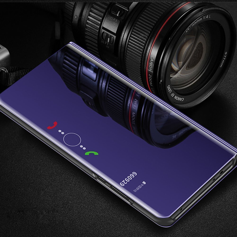 EMAXELERS Galaxy S8 Plus Funda Gold Funda Samsung Galaxy S8 Plus Espejo Caja de Maquillaje con Marco de Cuero de la PU Flip Protectora de Cuerpo Completo para Samsung Galaxy S8 Plus Mirror PU