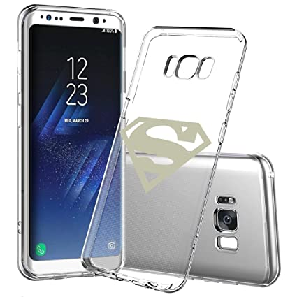 Samsung Galaxy S8 Plus Case, Onelee - Marvel Superman Logo [Never fade]  Shockproof Protective Clear Soft TPU Case Cover for Samsung Galaxy S8 Plus