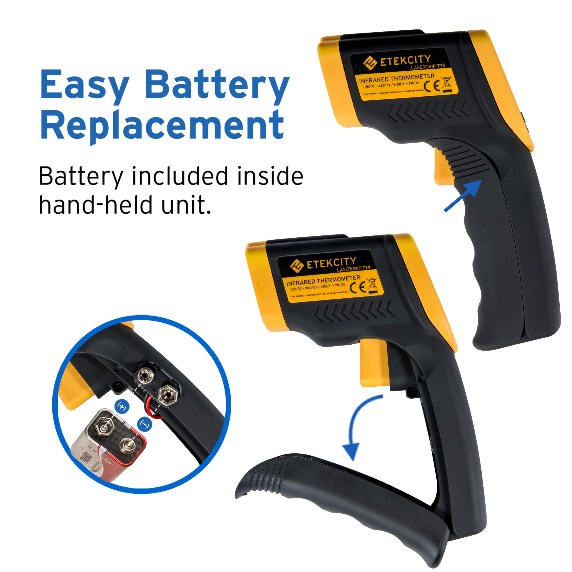 Etekcity Lasergrip 774 Non-contact Digital Laser Infrared Thermometer Temperature Gun -58℉~ 716℉ (-50℃ ~ 380℃), Yellow and Black by Etekcity (Image #3)