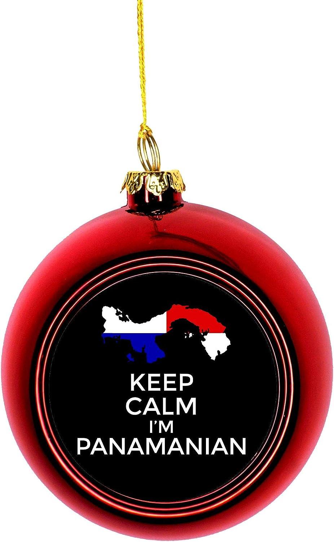 Jacks Outlet Keep Calm I M Panamanian Flag Panama Red Bauble Christmas Ornament Ball Home Kitchen