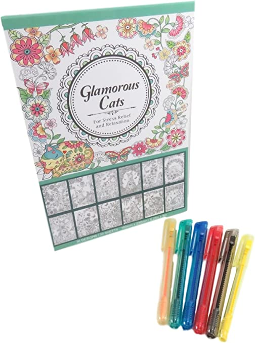 with Glamorous Cats Coloring Book 50 Sheets 7 Piece Set Rainbow Push Up Retractable Crayon Set Art Tools 6 Daiso Industries Co