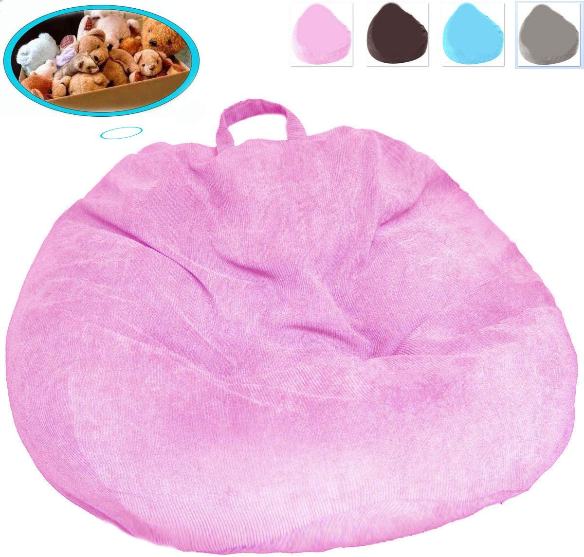 Bean Bag Chair No Filler , Ultra Soft Premium Corduroy Bean Bag Covers Extra Sturdy Zipper and Double Suture for Organizing Children Plush Toys or Memory Foam, for Kids and Adults