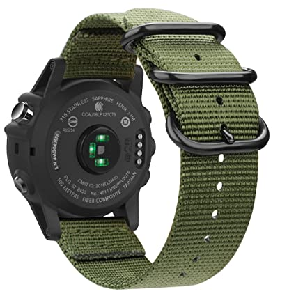 Fintie Band for Garmin Fenix 6X / Fenix 5X Plus/Tactix Charlie Watch, 26mm Premium Woven Nylon Adjustable Replacement Strap for Fenix 6X 5X/5X ...