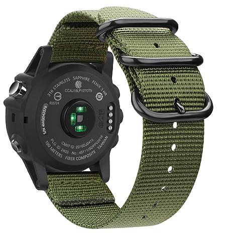 Fintie Correa para Garmin Fenix 6X / Fenix 3 / Fenix 3 HR/Fenix 5X Smartwatch - 26mm Pulsera de Repuesto de Nylon Tejido Banda con Hebilla de Metal, ...
