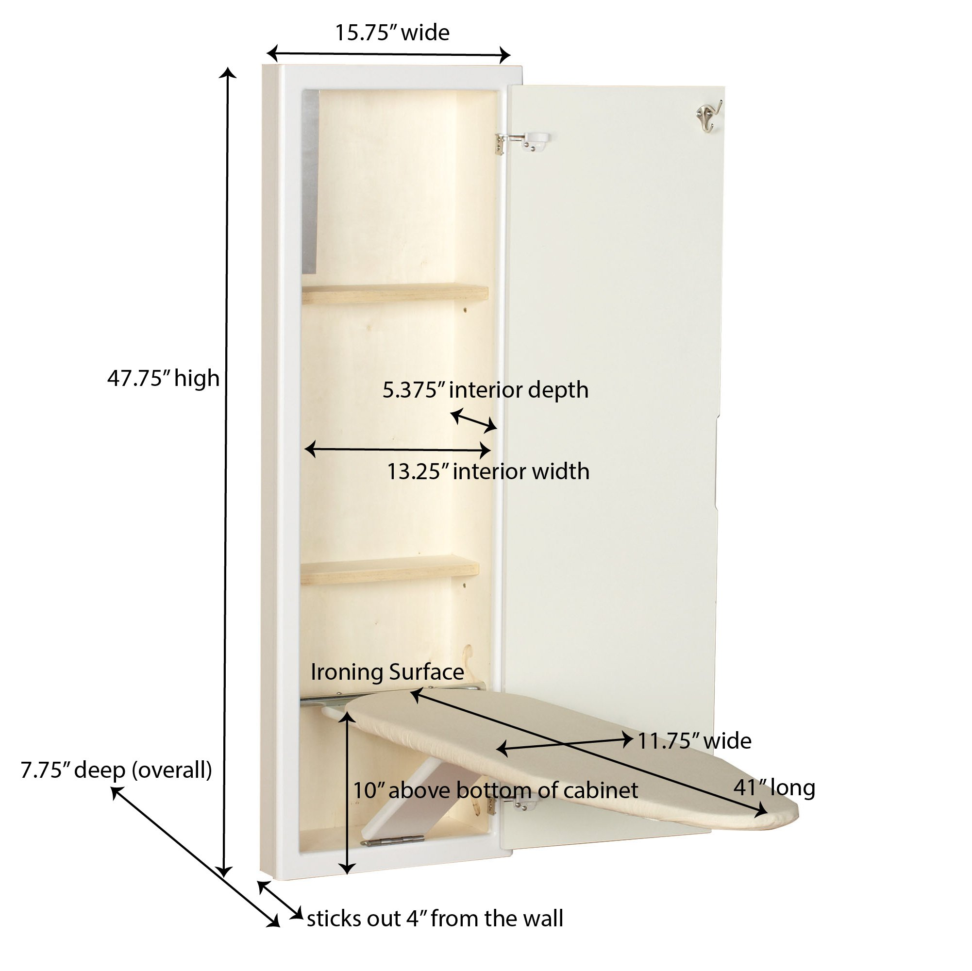 Household Essentials 18100-1 StowAway In-Wall Ironing Board Cabinet with Built In Ironing Board | White | Cut into Wall to Install by Household Essentials (Image #5)